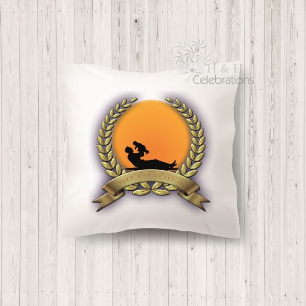 No 1 Father And Infant Laurel Silhouette Personalised Cushion